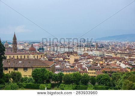 View Of The City Of Florence From The Boboli Gardens, Cloudy And Rainy Weather. Florence, Italy.