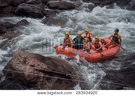 Rize, Turkey - Aug 14, 2013: Rafting Groups At The Firtina River In Karadeniz
