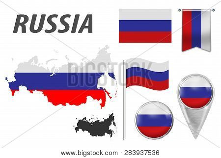 Russia. Collection Of Symbols In Colors National Flag On Various Objects Isolated On White Backgroun