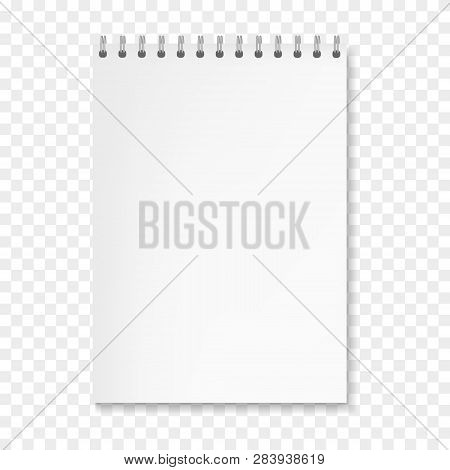Realistic Vector Vertical White Sheet Notebook Mockup. Copybook With Blank Paper On Metallic Ring Sp