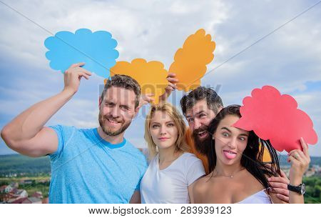 Bridging Communication Gaps. Group Communication Pleasure. People Speak Using Speech Bubbles. Commun