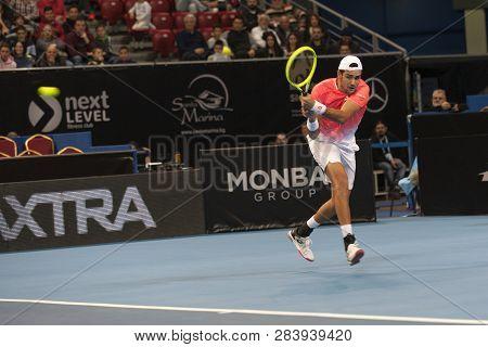 Sofia - February 09.2019: Matteo Berrettini  (ita) Participate At The Atp Sofia Open Tournament In S