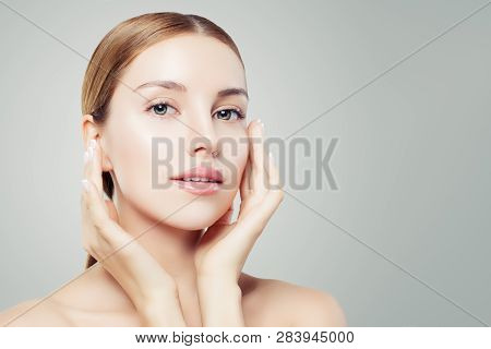 Close Up Portrait Of Perfect Female Face. Beautiful Girl With Healthy Skin. Facial Treatment, Face L