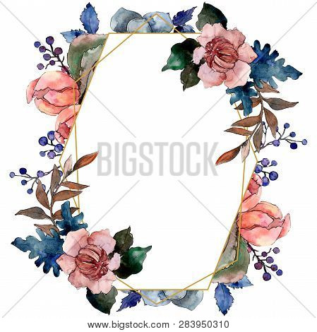 Peony And Succulent Bouquet Floral Flower. Watercolor Background Illustration Set. Frame Border Orna