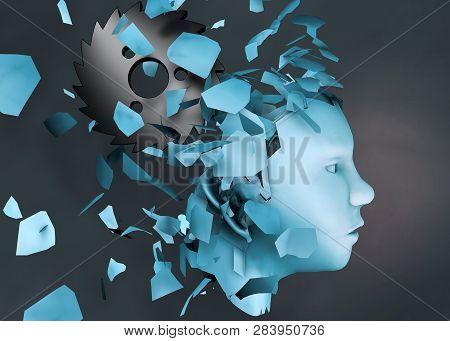 3d Rendering Illustration Of Mental Stress Disorder As Human Head Falling Apart