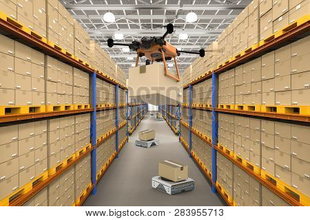 Automation Warehouse Concept With 3d Rendering Delivery Drone Holding Cardboard Box And Warehouse Ro