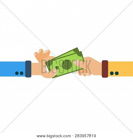 Hands Hold Cash Money, Financial Bills. Concept Of Financial Operations With Cash, Investments And S