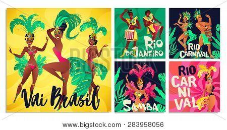 Brazilian Samba Posters. Carnival In Rio De Janeiro Dancers Wearing A Festival Costume Is Dancing. V
