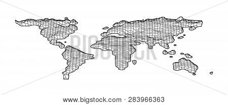 World Map Grid In Bevel Emboss Style. Topography Map Of World. Vector Illustration