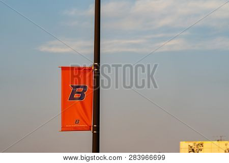 Boise, Idaho - July 21, 2018: Flag With The Boise State University Football Logo At The Albertsons S