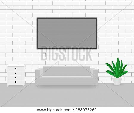 Modern Interior With Sofa, Commode, Potted Plant. Empty Frame On