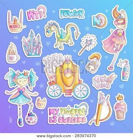 Brave Tomboy Princess Vector Cartoon Set. Princess Magic And Feminism Illustration, Little Teen Girl