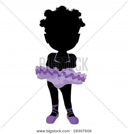 Little African American Ballerina Girl Illustration Silhouette