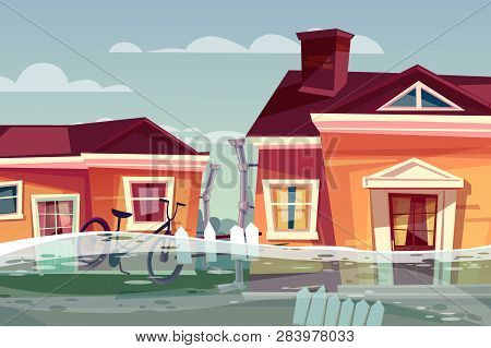 Houses In Flood Illustration Of Buildings Under Deluge Water Flowing In Street. Nature Disaster, Cat