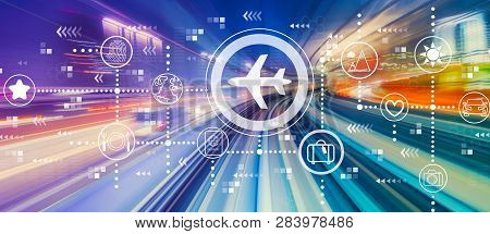 Airplane Travel Theme With Abstract High Speed Technology Pov Motion Blur