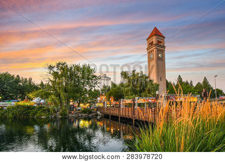 Spokane, Washington - September 1 2018: Festival Goers Enjoy A Colorful Sunset At The Annual Pig Out