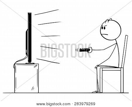 Cartoon Stick Figure Drawing Of Unhappy, Bored And Unsatisfied Man Sitting Alone On Chair And Watchi