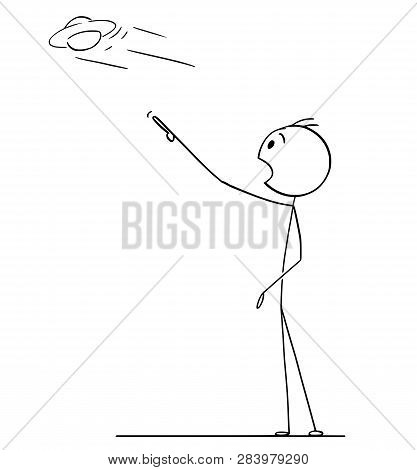 Cartoon Stick Figure Drawing Of Surprised Man Hand Pointing And Watching Or Observing Ufo Or Saucer