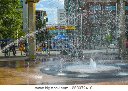 Spokane, Washington - September 3 2018: Tourists And Local Washingtonians Enjoy A Summer Day At Rive