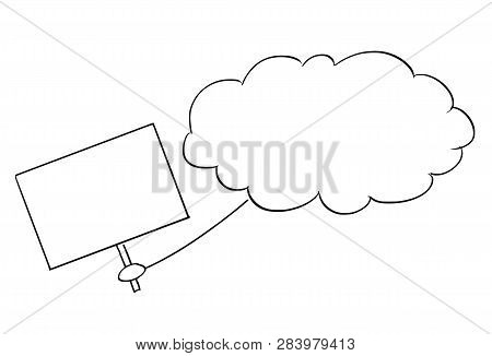 Cartoon Stick Figure Conceptual Drawing Of Cloud From Sky Holding Empty Sign As Message Or Proclamat