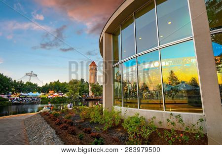 Spokane, Washington - September 2 2018: The Looff Carrousel, The Clock Tower, Spokane River And The