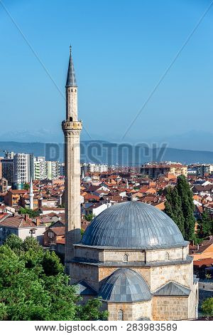 View Of The Sinan Pasha Mosque With A Cityscape Of Prizren, Kosovo In The Background