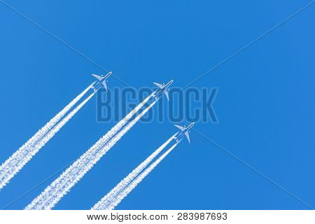 Three Airplane Big Two Engines Aviation Airport Contrail Clouds
