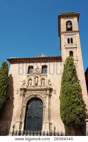 San Gil y Santa Ana Church in Granada. This church was built in 1501 in Mudejar style in place of the mosque of Almanzra. poster