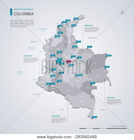 Colombia Vector Map With Infographic Elements, Pointer Marks. Editable Template With Regions, Cities