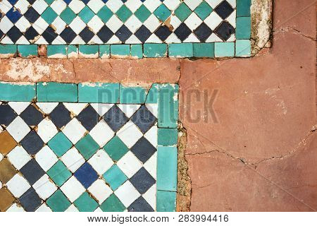 Typical Moroccan Background With Ceramic Tiles And Terracotta Flooring