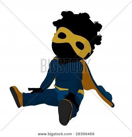 Little African American Super Hero Girl Illustration Silhouette