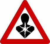 Warning sign with carcinogenic substances symbol on white background poster