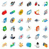 WWW marketing icons set. Isometric style of 36 www marketing icons for web isolated on white background poster