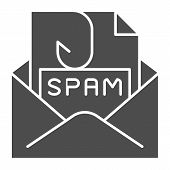 Spam mail solid icon. Spam letter in envelope vector illustration isolated on white. Message with hook glyph style design, designed for web and app. Eps 10. poster