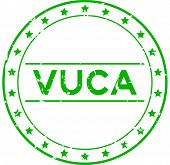 Grunge green vuca (abbreviation of Volatility, uncertainty, complexity and ambiguity) word round rubber seal stamp on white background poster