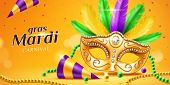 Mardi gras parade banner with masquerade or carnival mask and beads, feather and confetti, cone hat. Festival face cover and chaplet for card design. Party or holiday flyer. New Orlean festive poster
