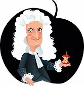 Sir Isaac Newton Vector Caricature Funny Portrait poster