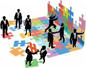 Business people collaborate to put pieces together find solution to puzzle and build startup poster