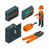 Electrical systems isometric. Electrician worker with industrial power tools for repair and setup unit vector 3d. Isometric worker electrician, repairman technician, maintenance system illustration poster