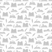 Sketchbooks, books, diary and feathers seamless pattern. Book and feather allegory, write literary illustration poster