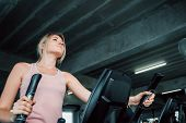 Portrait of sporty woman exercising elliptical in fitness gym., Group of pretty women in sportswear working out cardio training at gym.,Wellness program and sport healthy concept. poster