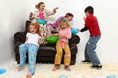 Food fight with brother at girl's pajama party sleep over with popcorn mess. poster
