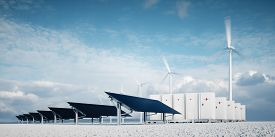 Photorealistic Futuristic Concept Of Renewable Energy Storage Consisting Of Modern, Aesthetic And Ef