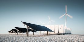 Concept Of Renewable Energy Storage At Bright Clean Blue Sky Environment. Modern Black Photovoltacis