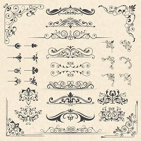 Calligraphy Borders Corners. Classic Vintage Ornament Victorian Old Frames Vector Design Elements. I