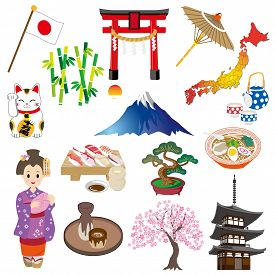 Japan Style Icon Set On A White Background