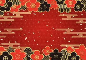 Japanese Vintage Pattern Background With Sakura, Plum Flower, And Gold Confetti