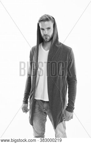 Fashion Trend. Street Style Outfit. Handsome Man With Hood Standing White Background. Clothes Daily