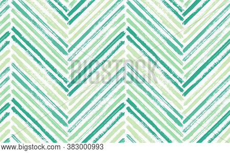 Unique Zig Zag Fashion Print Vector Seamless Pattern. Ink Brushstrokes Geometric Stripes. Hand Drawn
