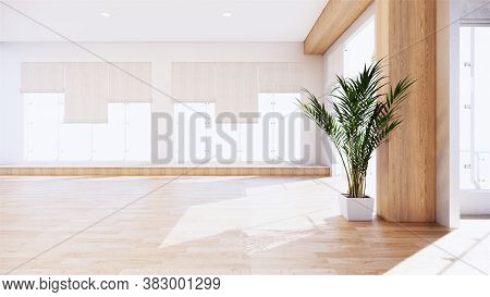 Scene Room Tropical Interior Style, Big Empty Room Interior Mock Up.3D Rendering